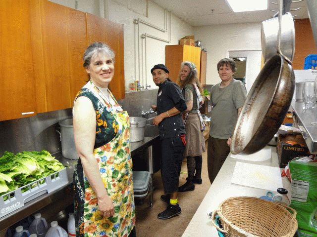 Miranda and crew from Occupy Portland preparing lunch